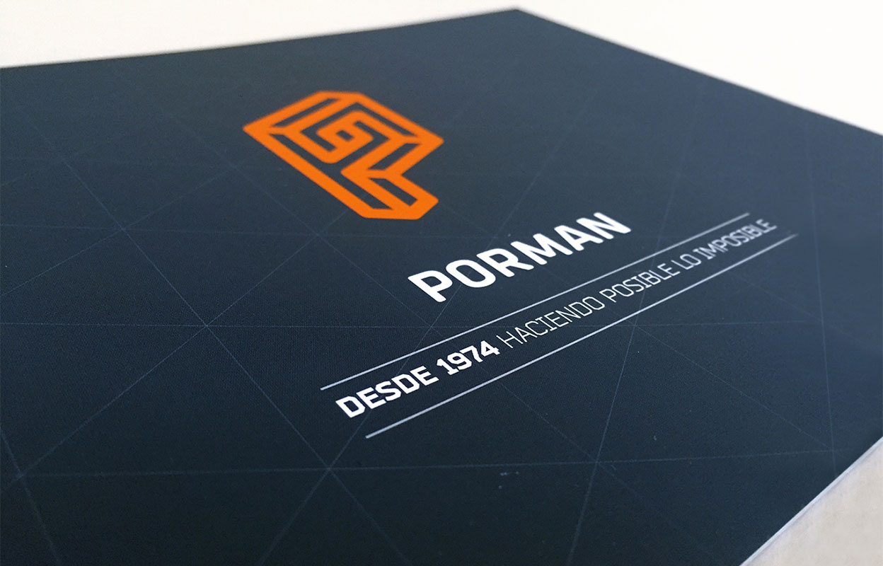 Diseño de la portada del dossier corporativo de Porman