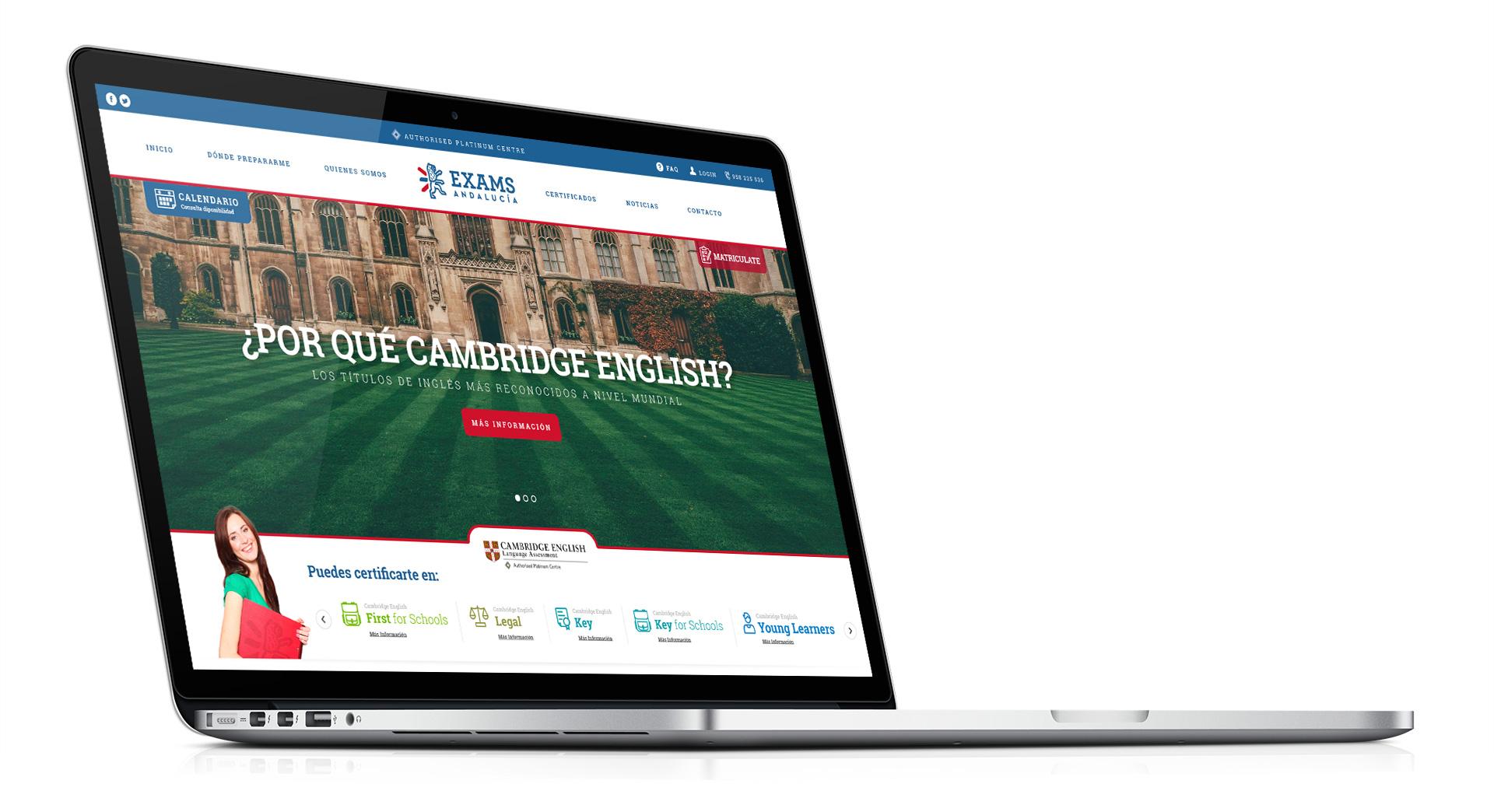 Pantalla principal de la web de Exams Andalucia