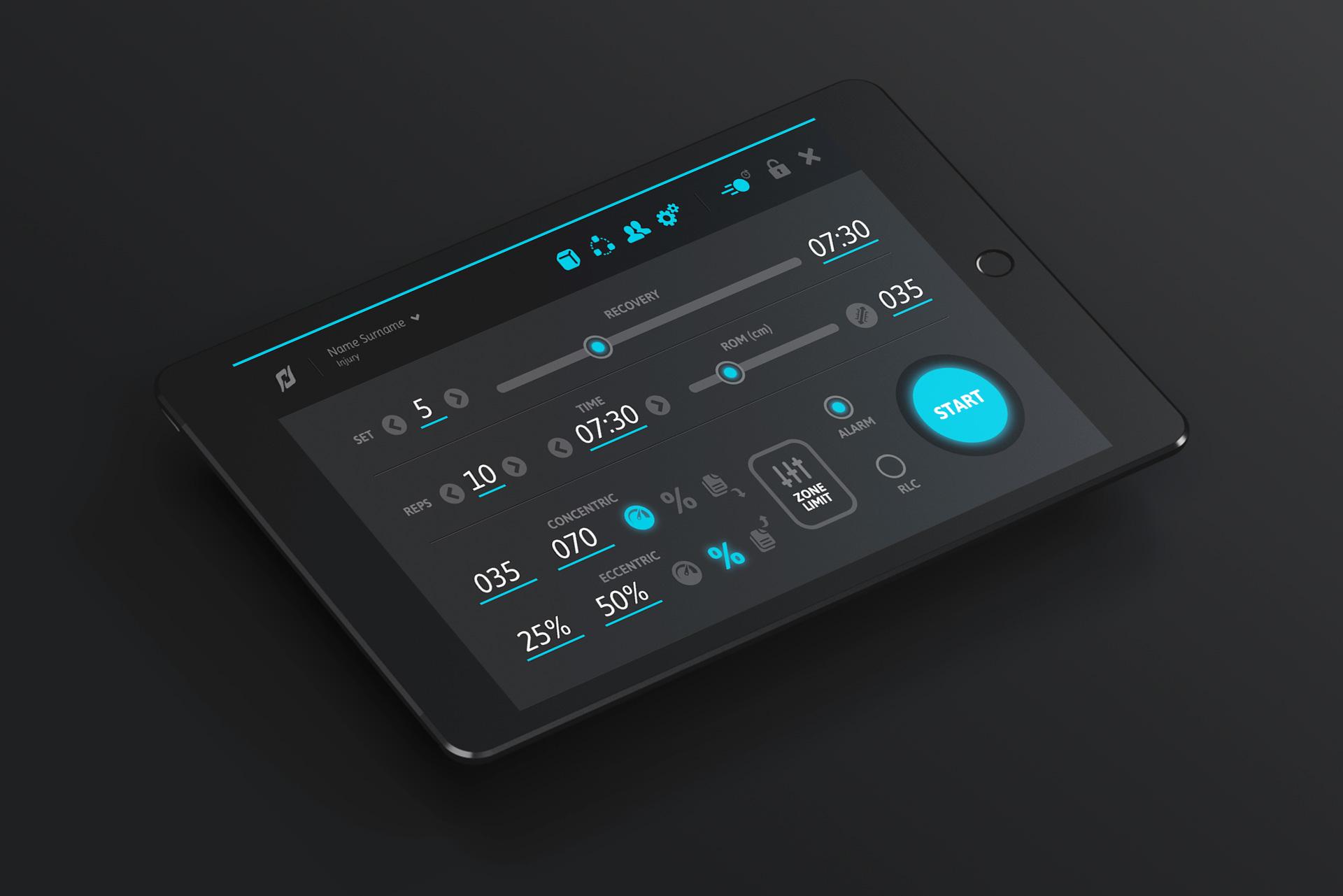 Diseño de interfaz de la app de Dynasystem