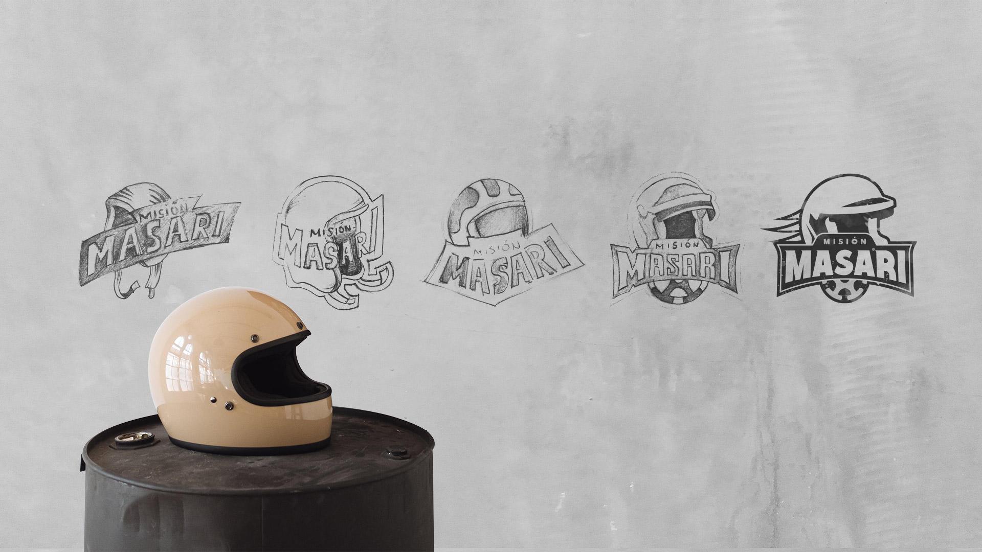 Bocetos de diseño para el logotipo de Misión Masari
