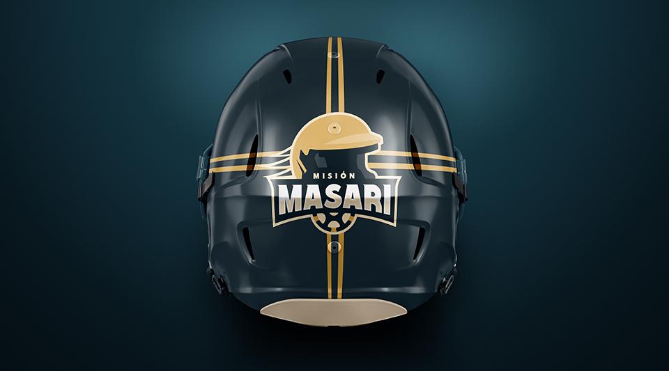 Identidad corporativa de Misión Masari aplicada al casco