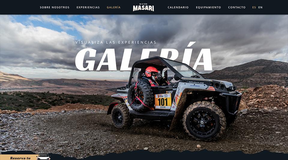 Detalle de diseño de la página web de Misión Masari