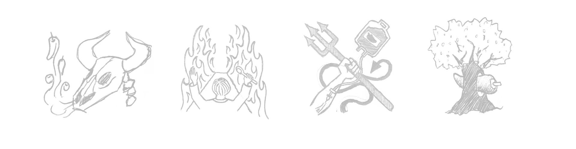 Bocetos de diseño para los botes de Doctor Salsas