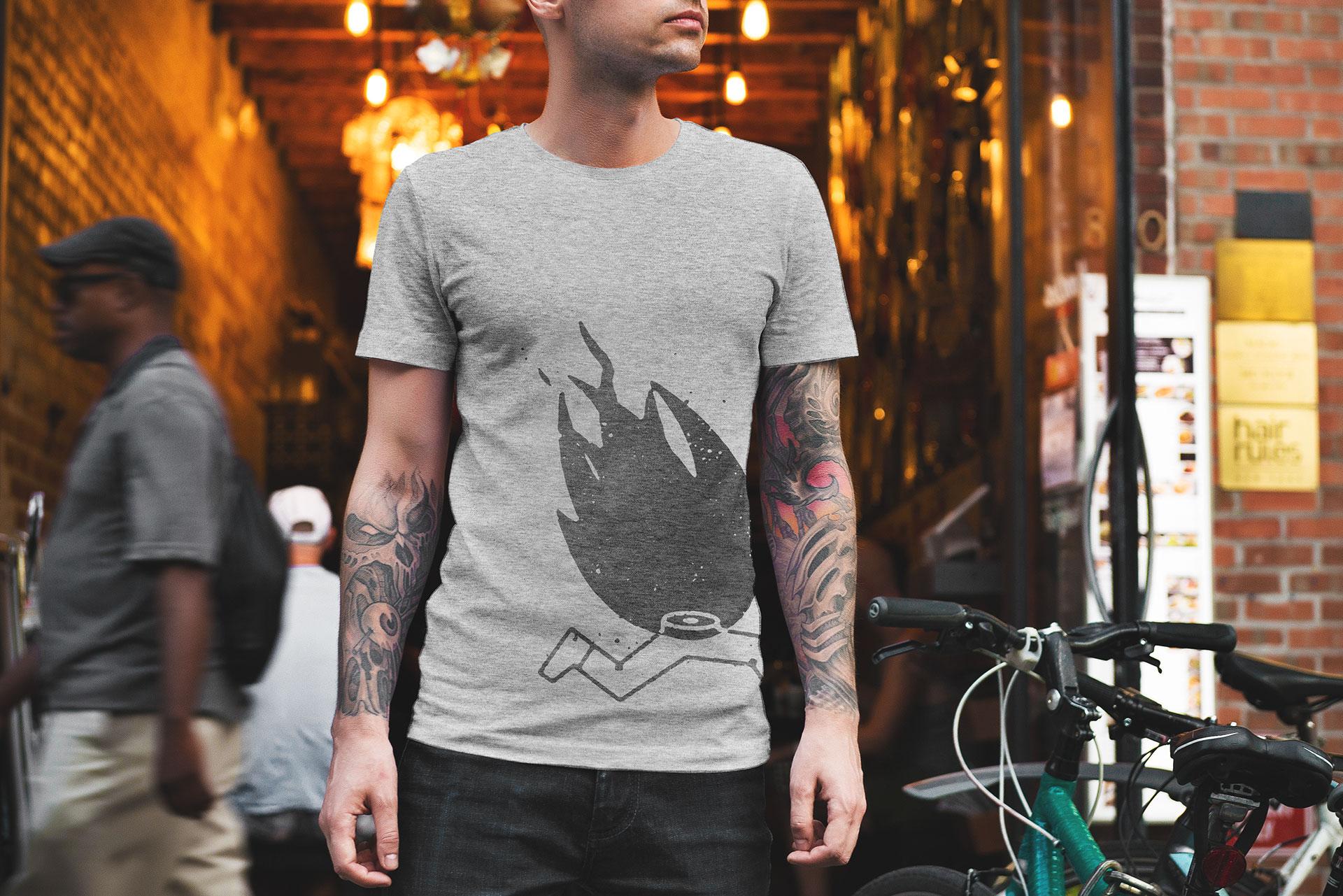 Aplicación de la marca Doctor Salsas a camiseta