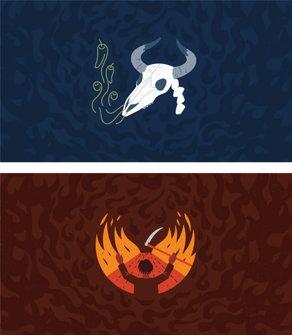 Ilustraciones creadas para la línea de packaging de Doctor Salsas