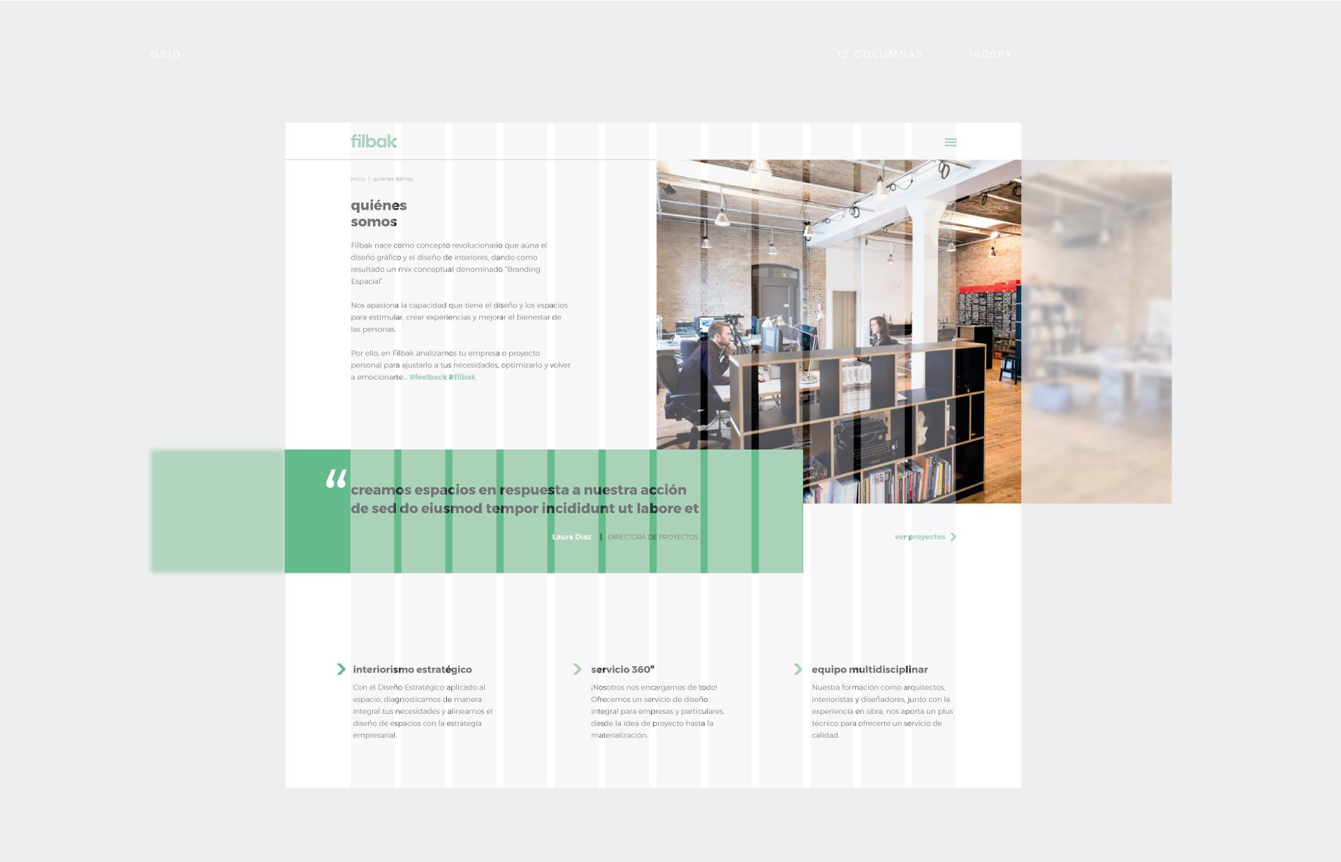 Retícula usada en el diseño de la web de Filbak