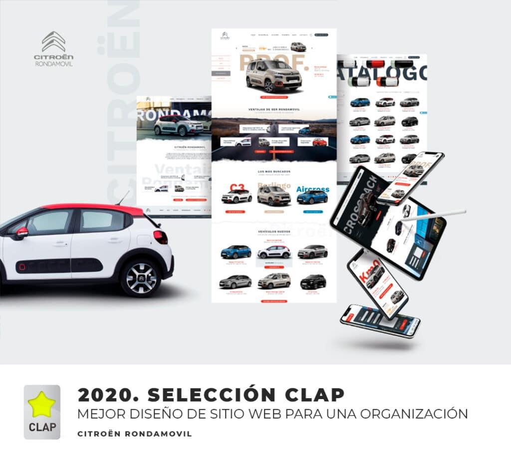 Mejor diseño de sitio web para organización Ronda Móvil. Selección CLAP. Agencia de publicidad Squembri
